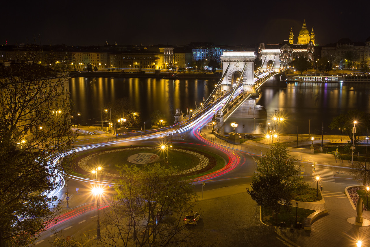 Chain Bridge and St Stephens Basilica from the funicular in Buda