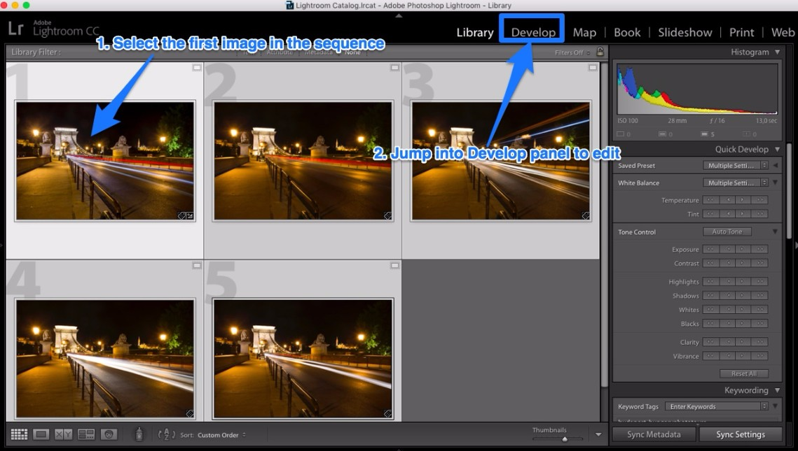 Lightroom Library panel select