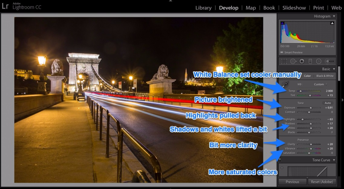 Lightroom editing night photo in develop panel