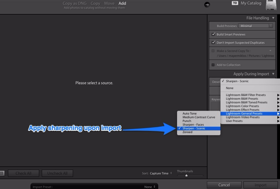 Lightroom import panel sharpening