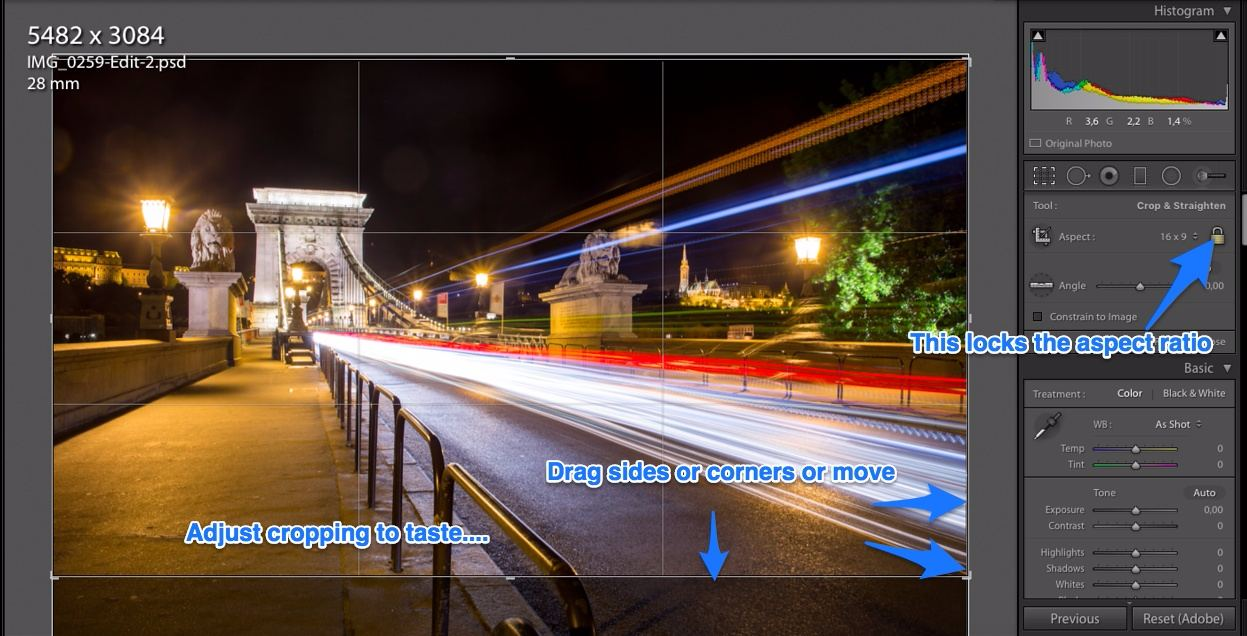Lightroom cropping tool