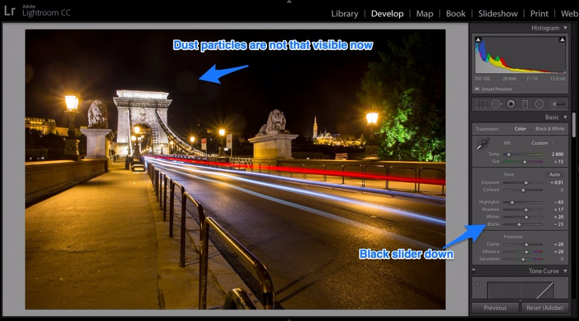 Lightroom dust particles disappear by black slider