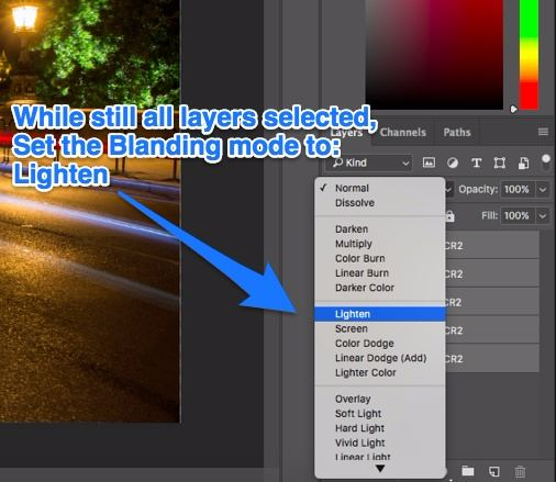 Photoshop set blending mode Lighten