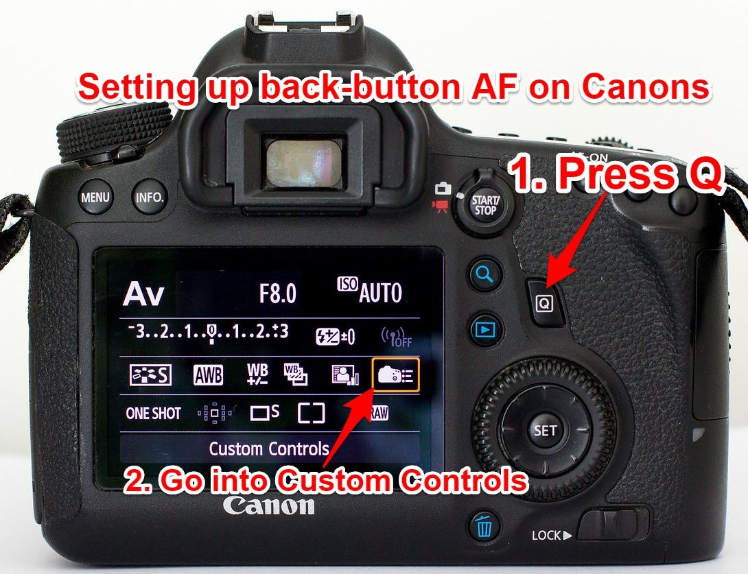 Setting up back button autofocus on Canon 6D