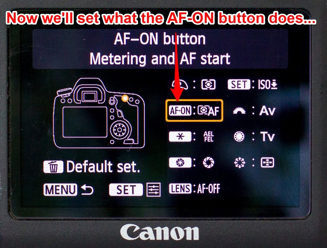 Canon 6D AF-ON button set up 1