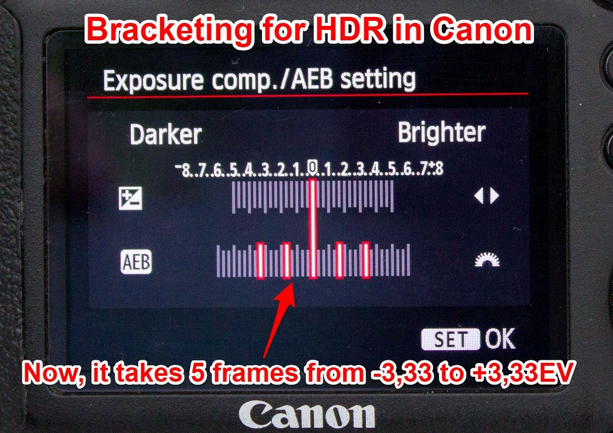 Canon 6D exposure bracketing 5 shots