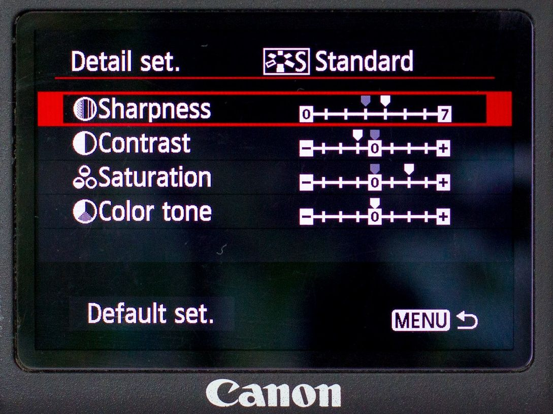Canon customize picture style settings