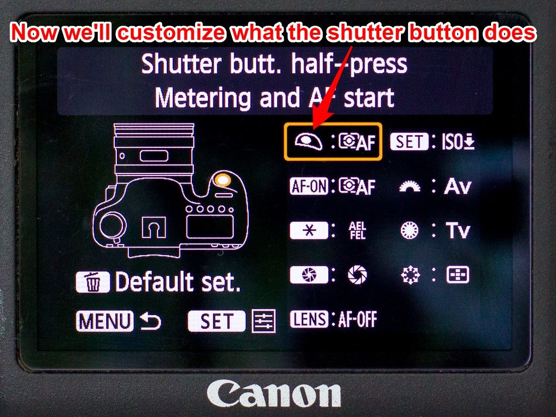 Canon 6D shutter button set up 1
