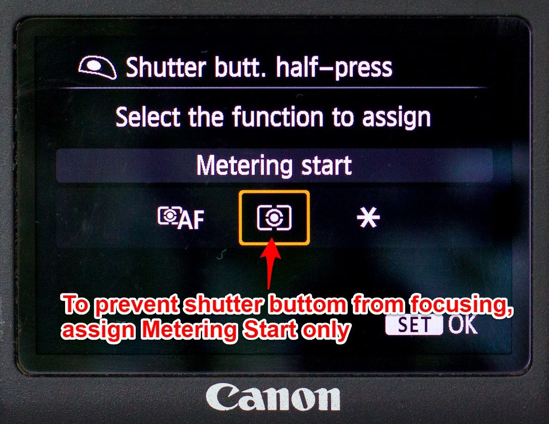 Canon 6D shutter button set up 2