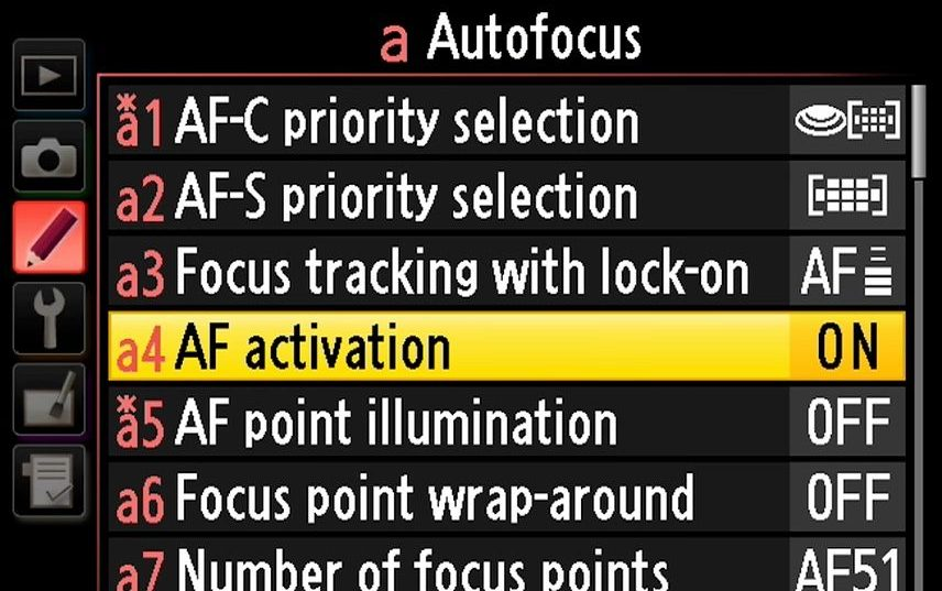 Nikon D750 AF activation set up