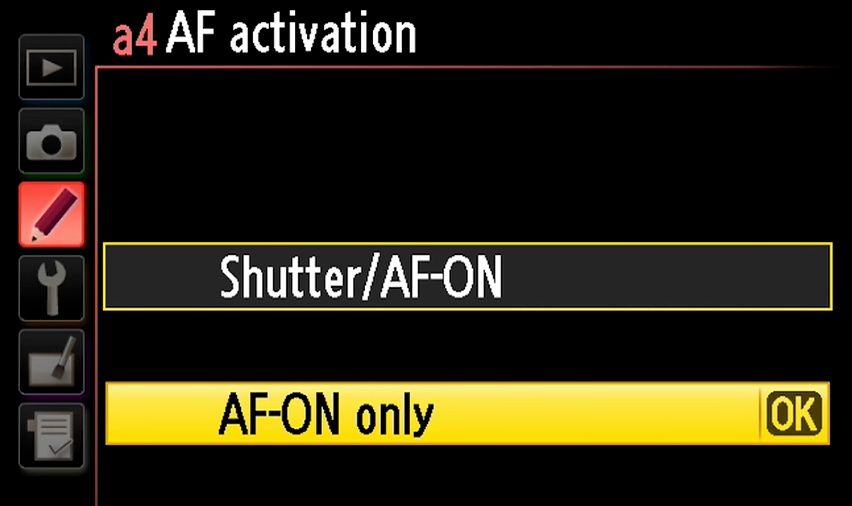Nikon D750 AF activation AF_ON button