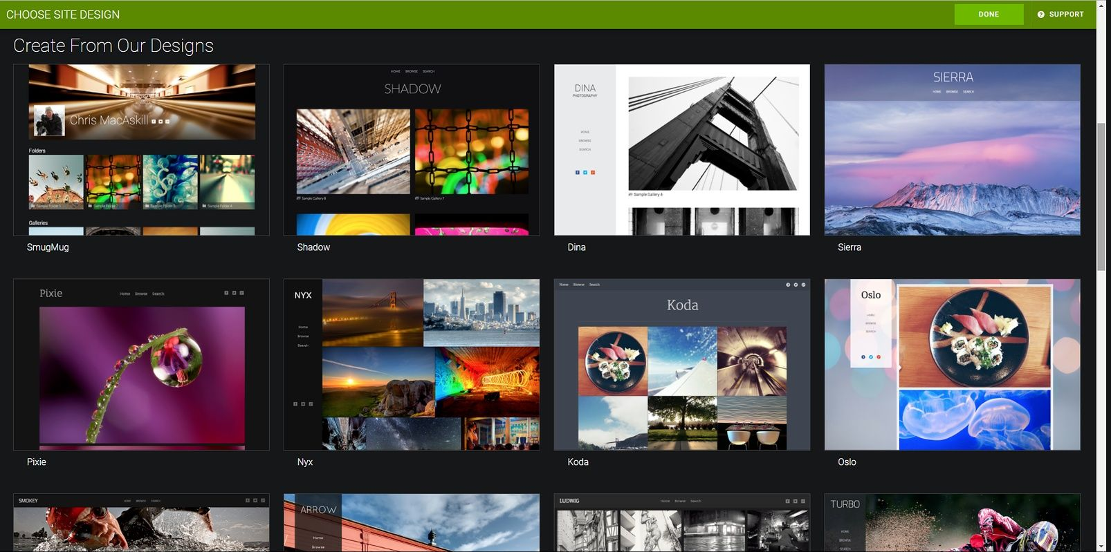 smugmug chooses site design options_2