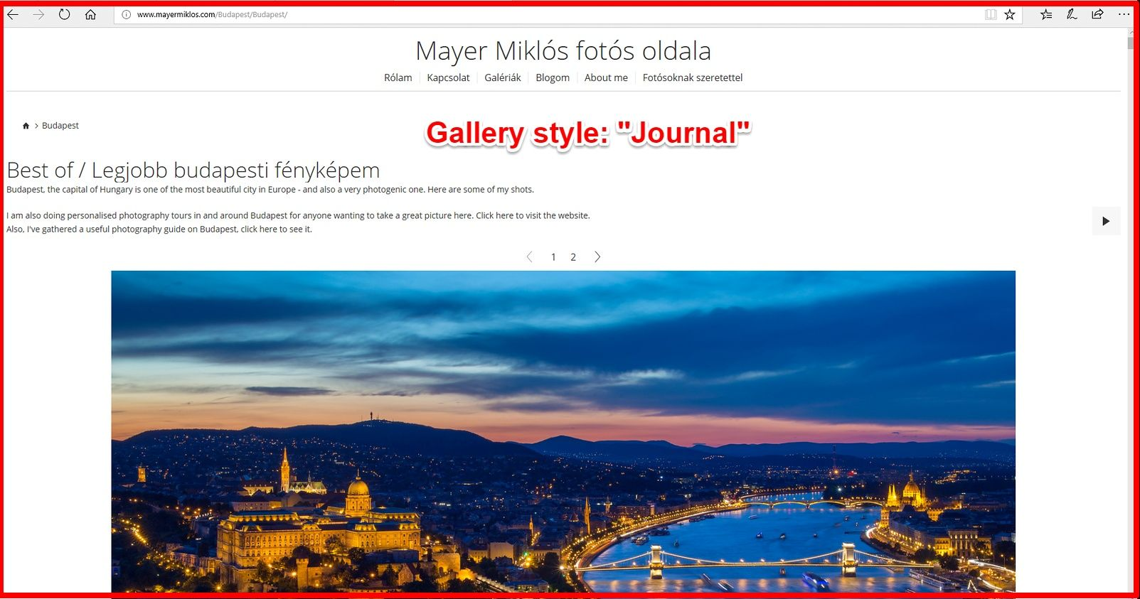 Smugmug journal gallery view