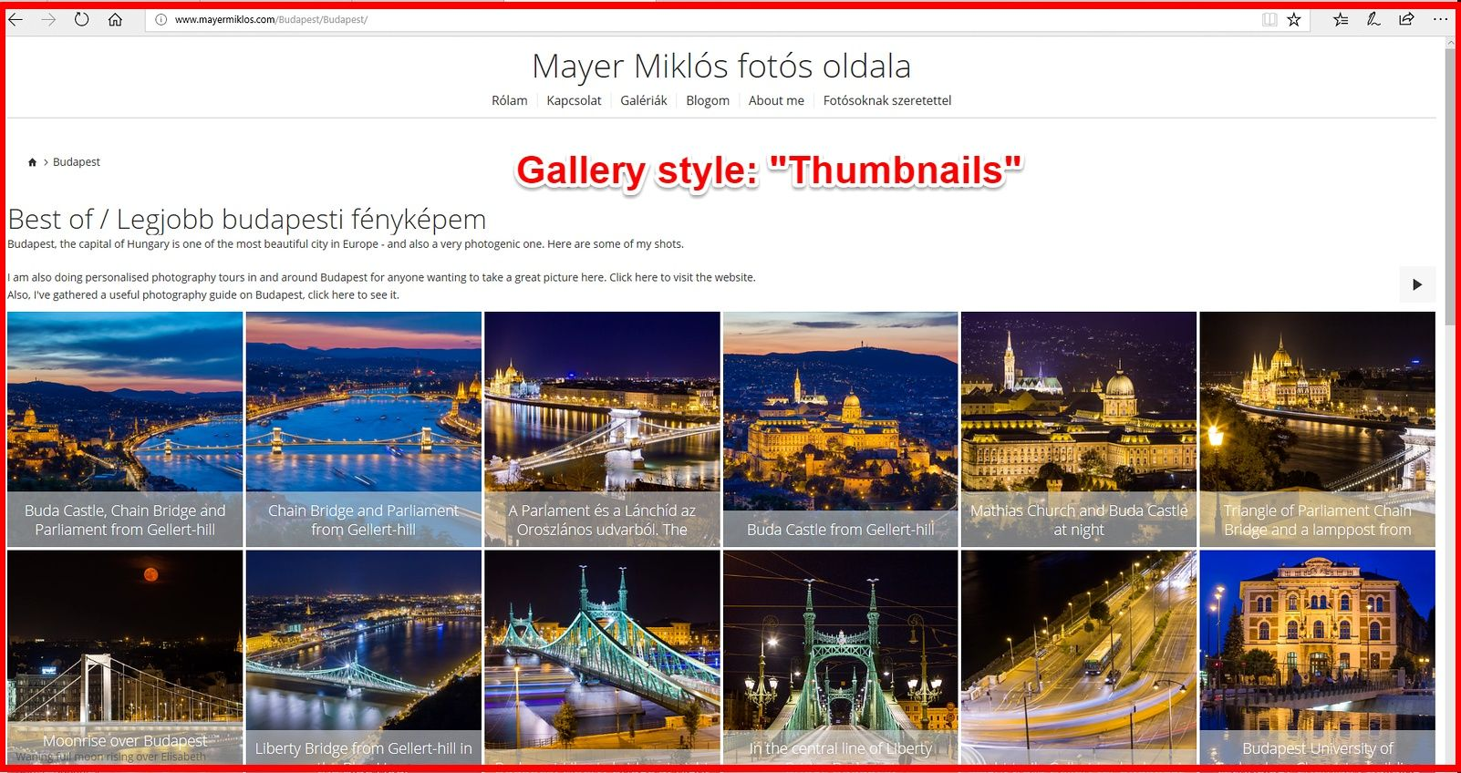 Smugmug thumbnails gallery view