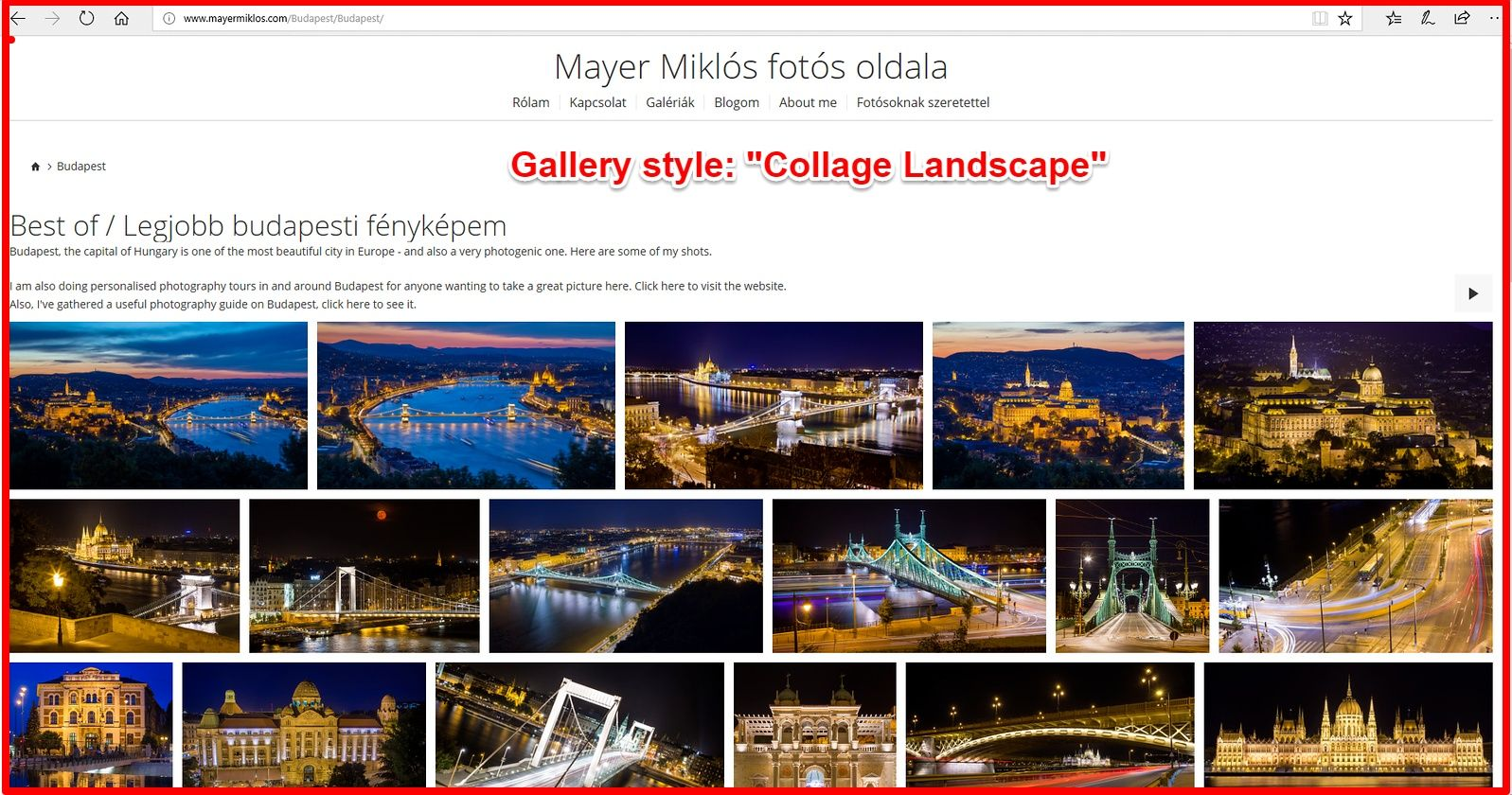 Smugmug collage landscape gallery view