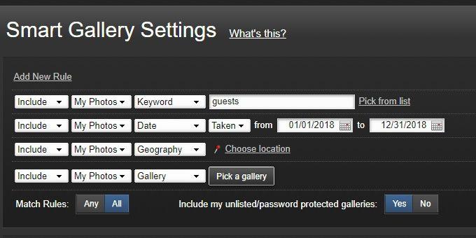 Smugmug smart gallery filters
