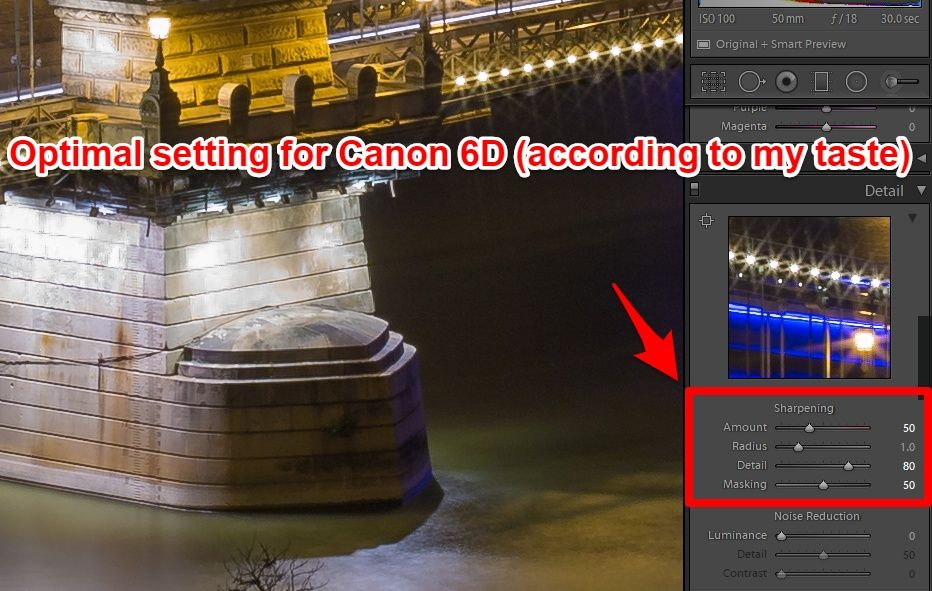 Lightroom advanced sharpening optimal setting for Canon 6D
