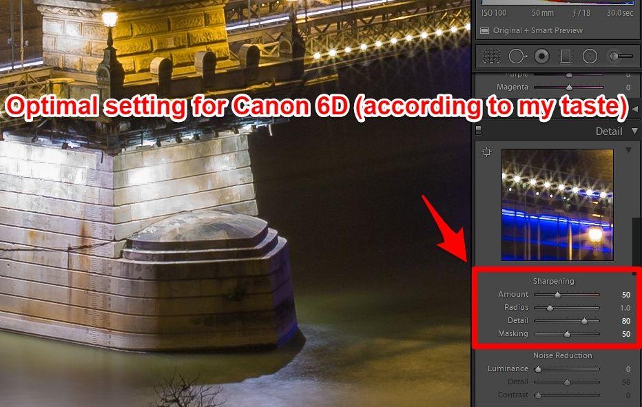 Lightroom advanced sharpening optimal setting for Canon 6D