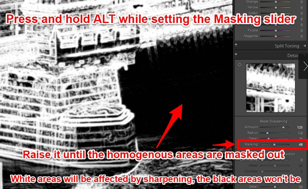 Lightroom advanced sharpening using Masking slider