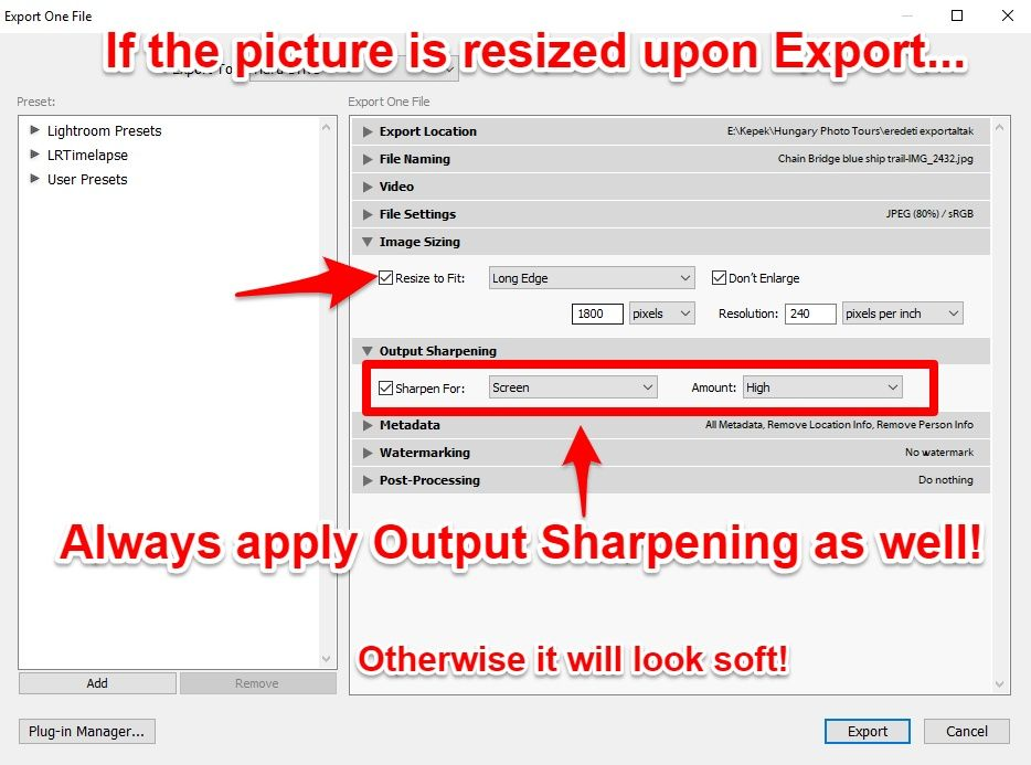 Lightroom output sharpening when resize
