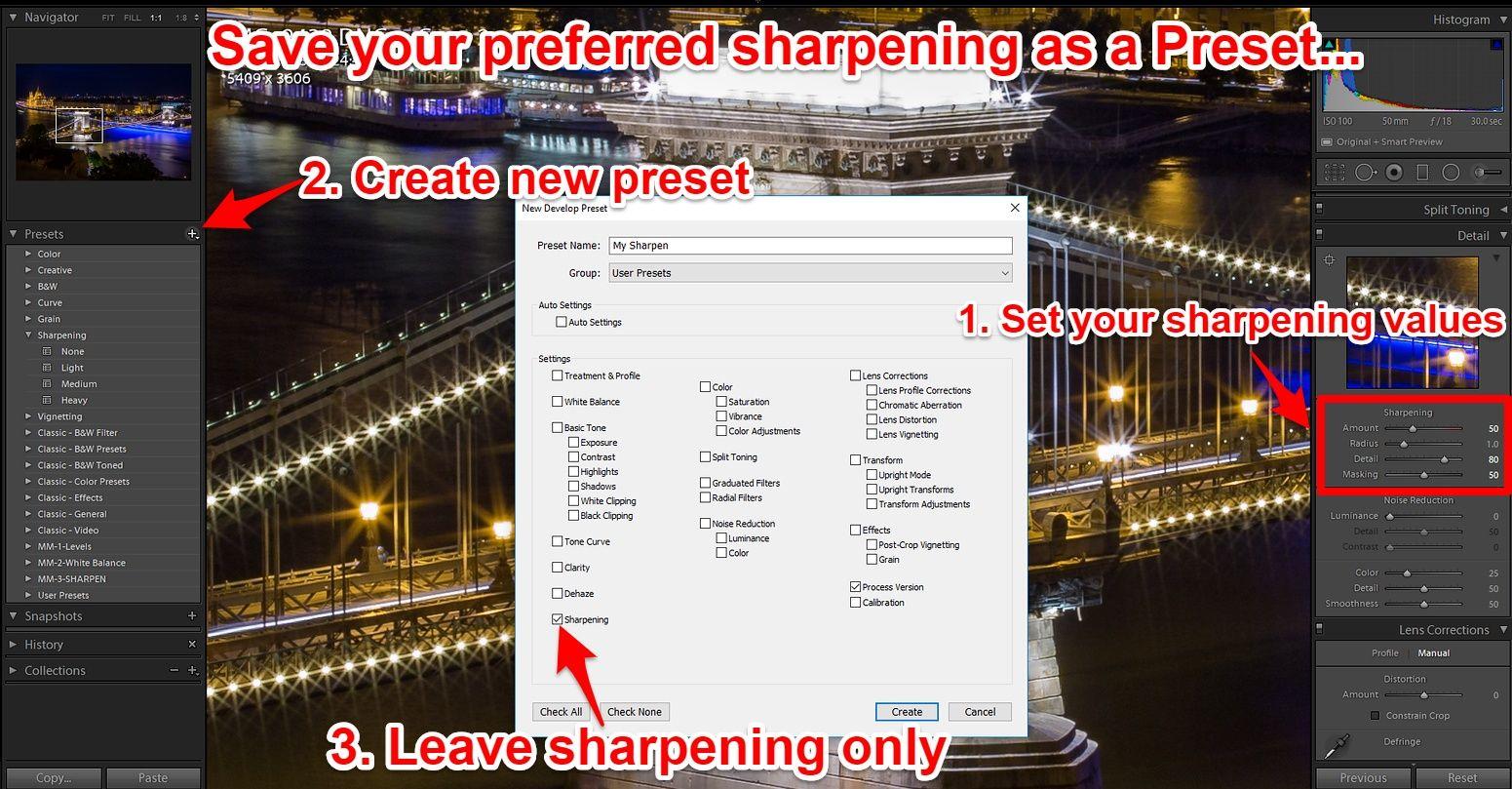 Lightroom save sharpening preset