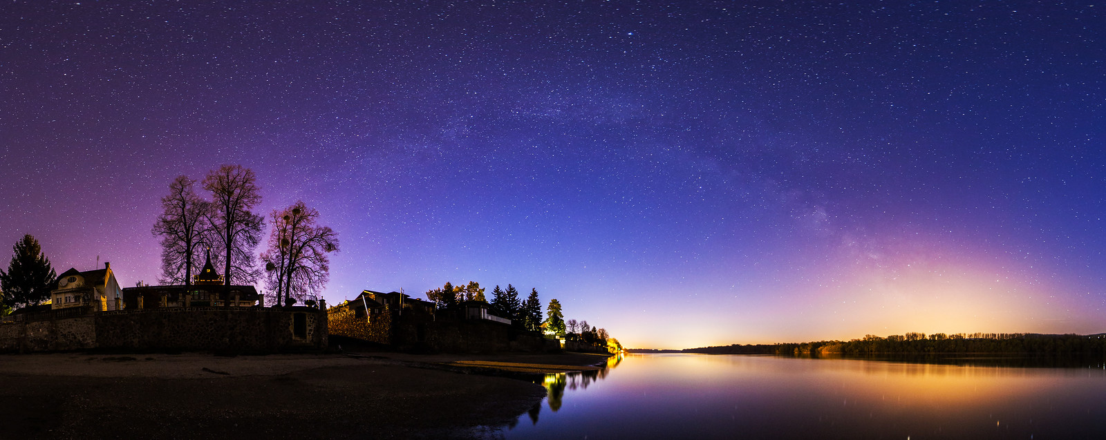 Milky Way panorama over the Danube in Hungary
