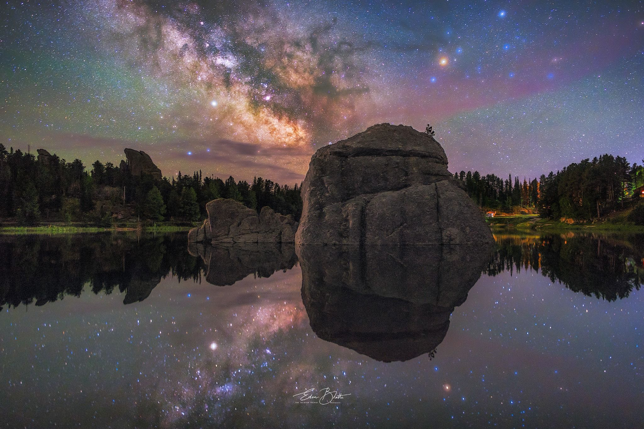 Milky Way reflection at Sylvan Lake South Dakota by Eden Bhatta