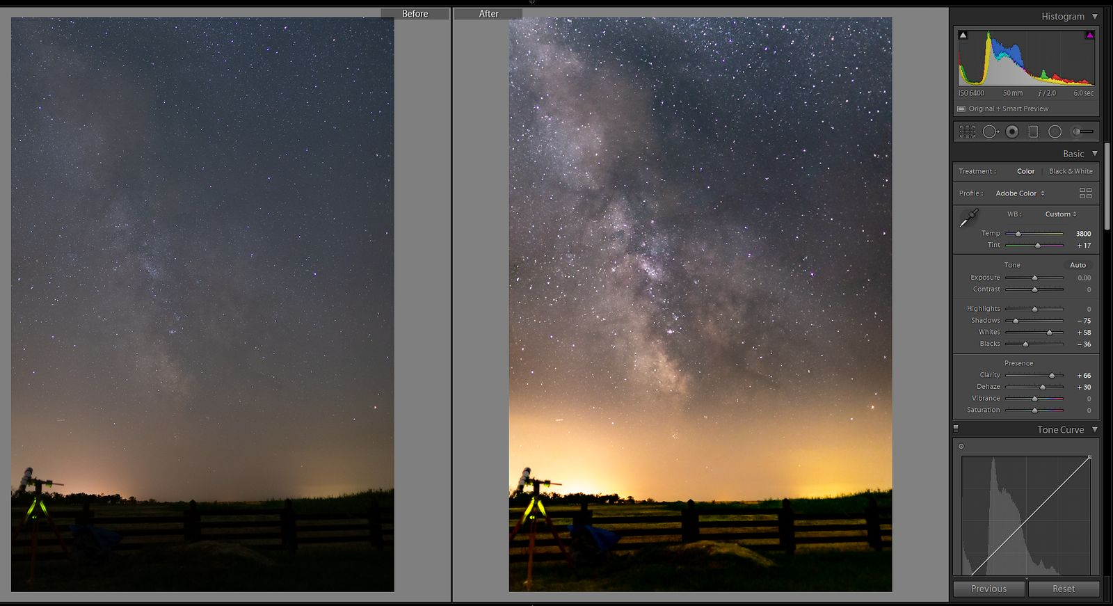 Milky way editing in Lightroom