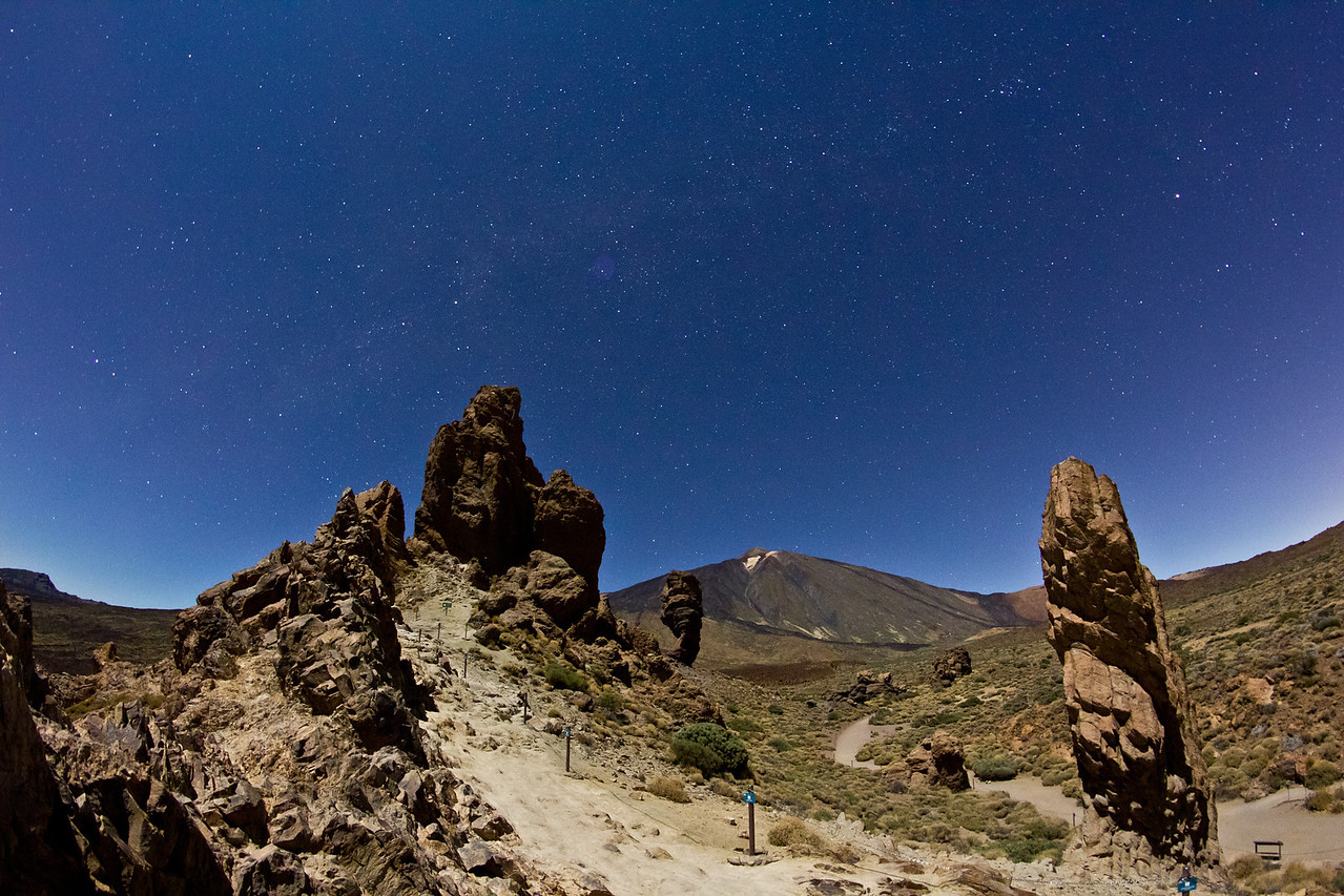 Moonlit Teide on Tenerife with winter Milky Way