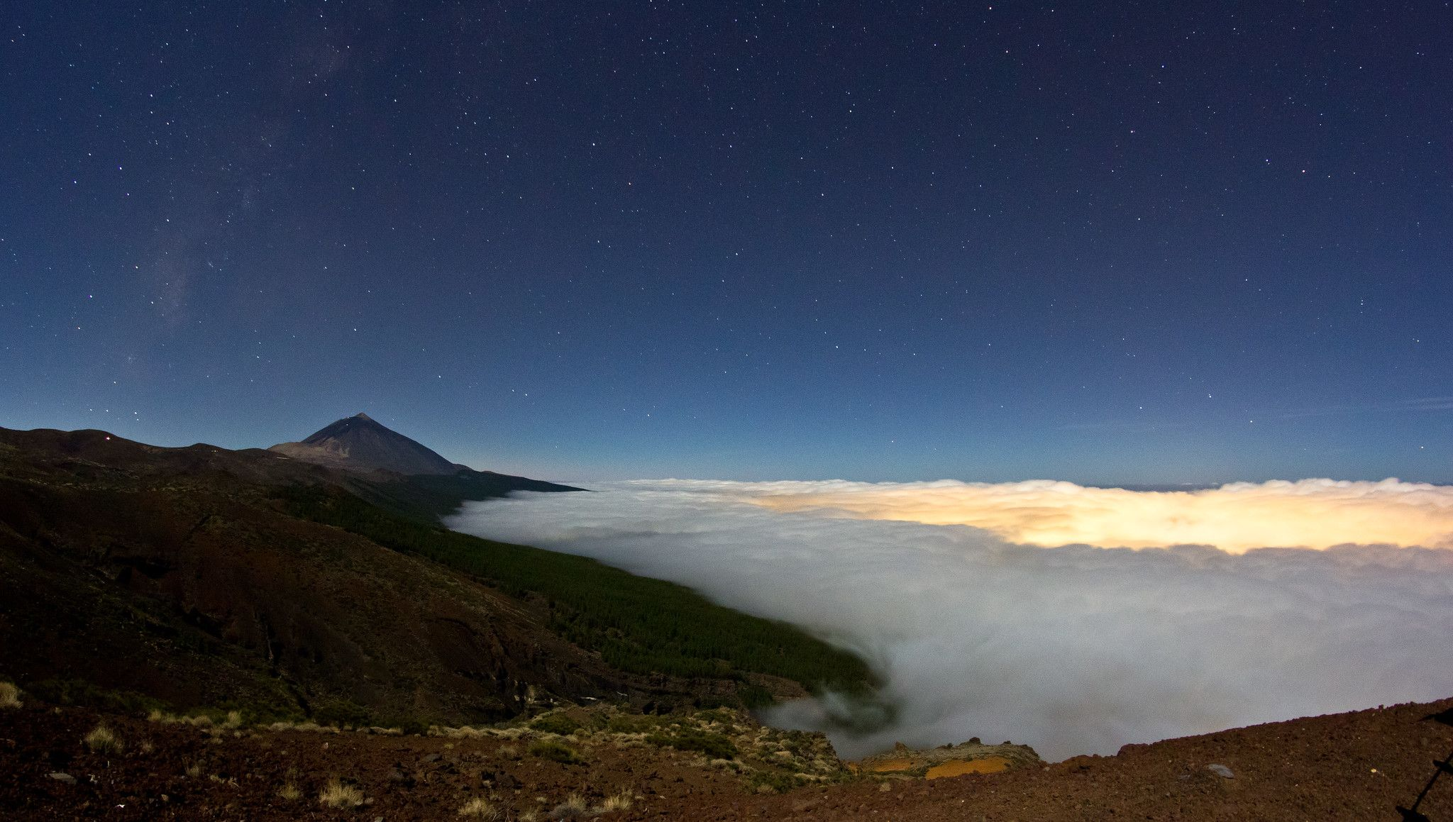 Moonlit scene of Tenerife with Teide and Milky Way