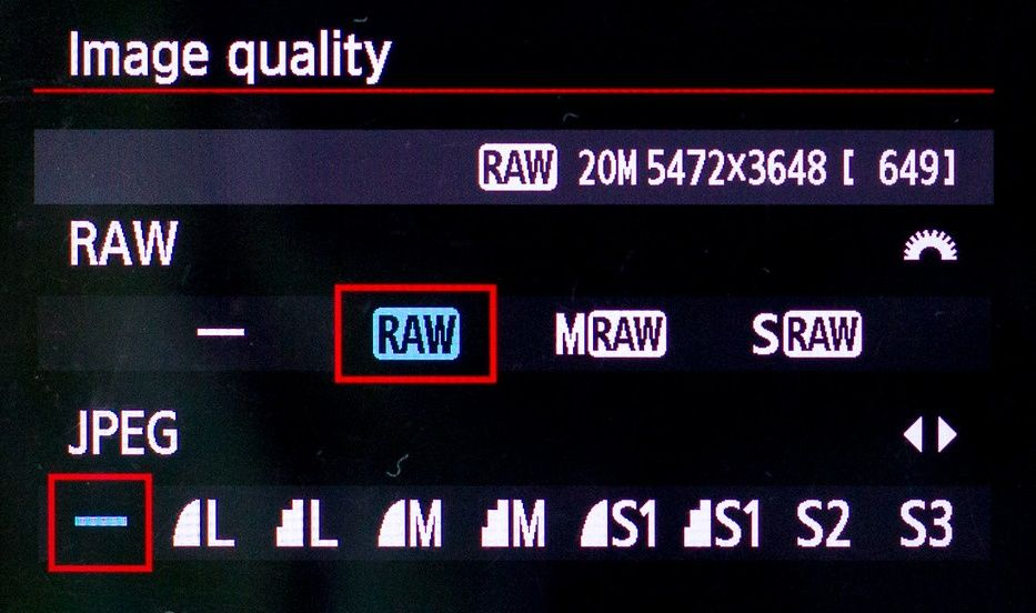 canon set file format to raw