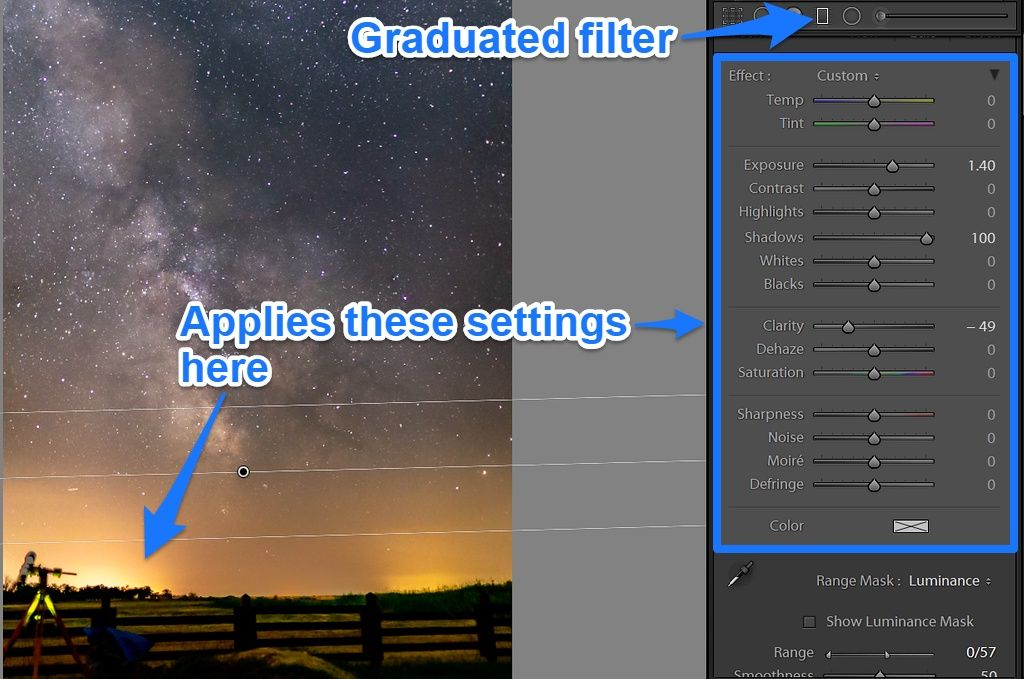 lightroom graduated filter Milky Way