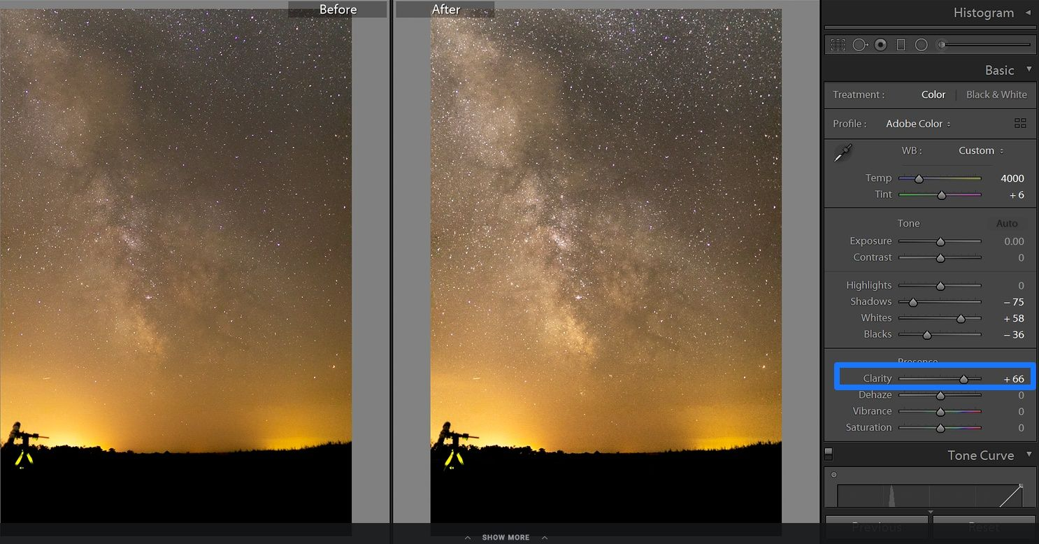 lightroom milky way clarity