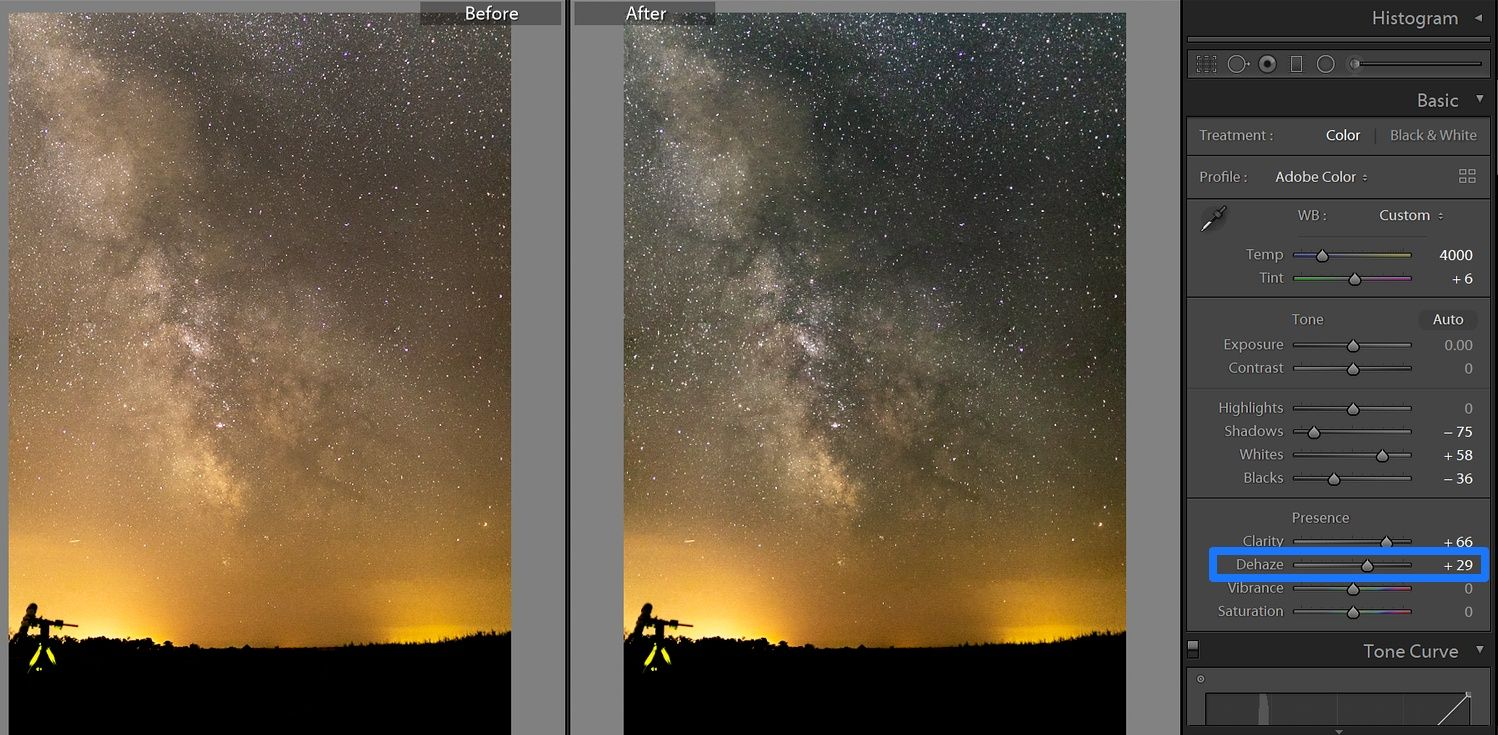 lightroom milky way dehaze