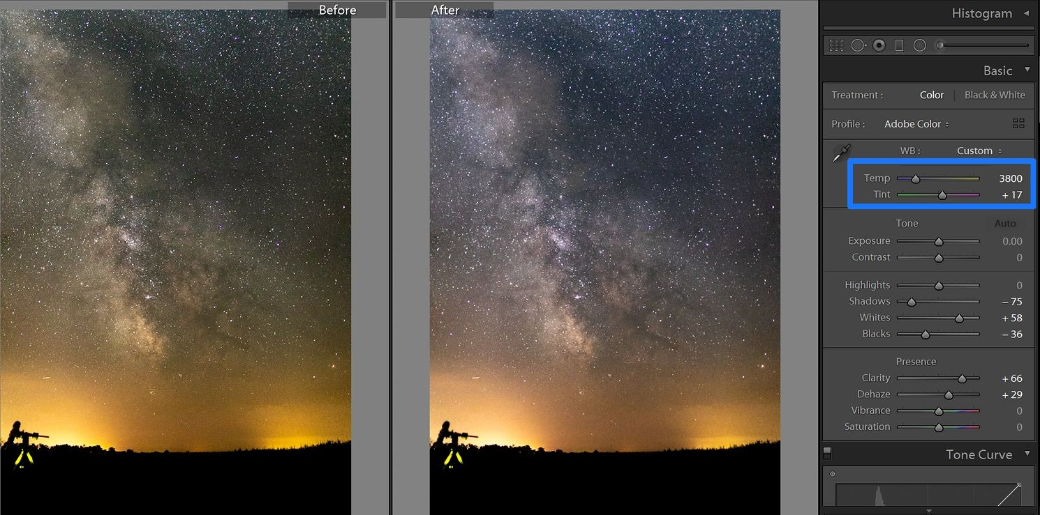 lightroom milky way white balance