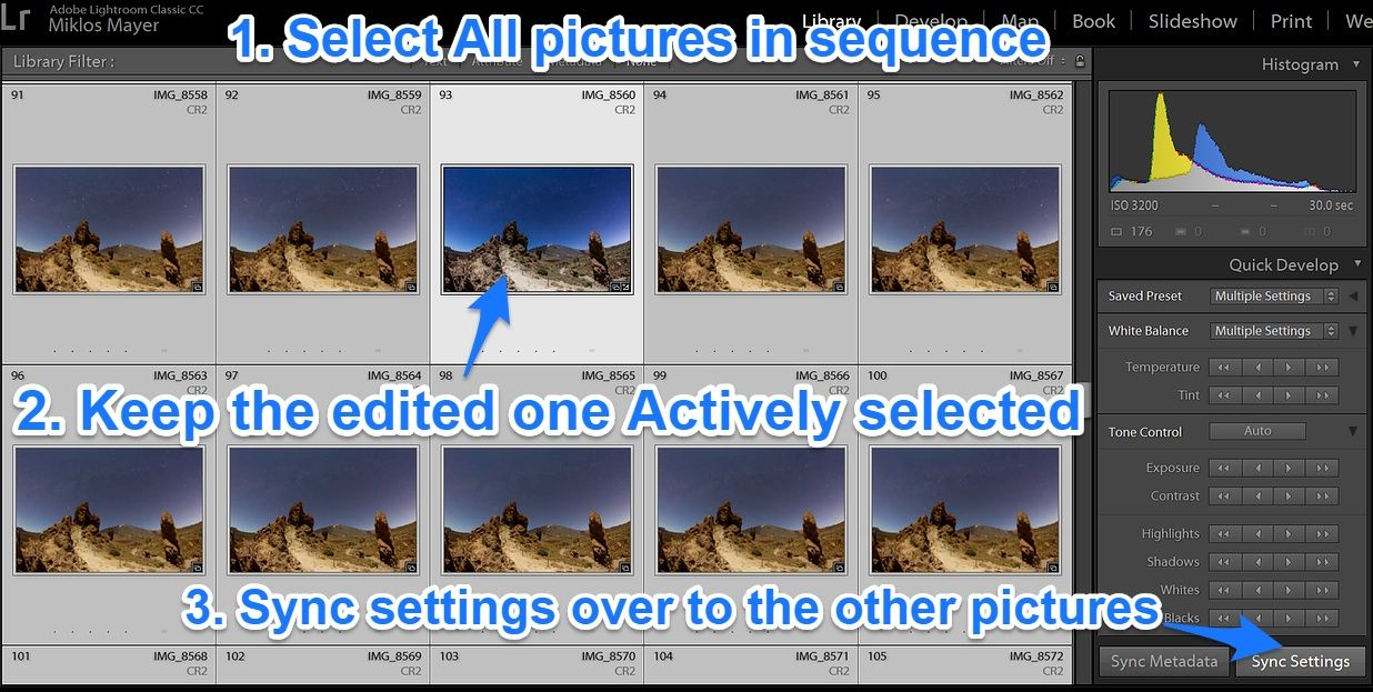 Lightroom synchonize settings timelapse sequence