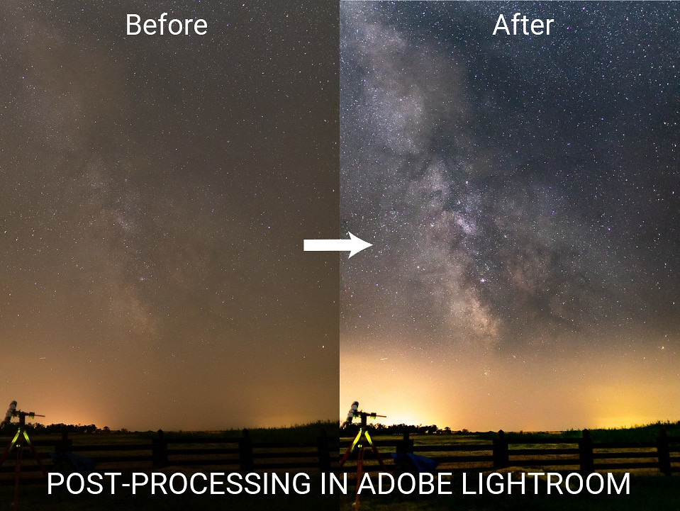 Milky way post processing in Adobe Lightroom before-after