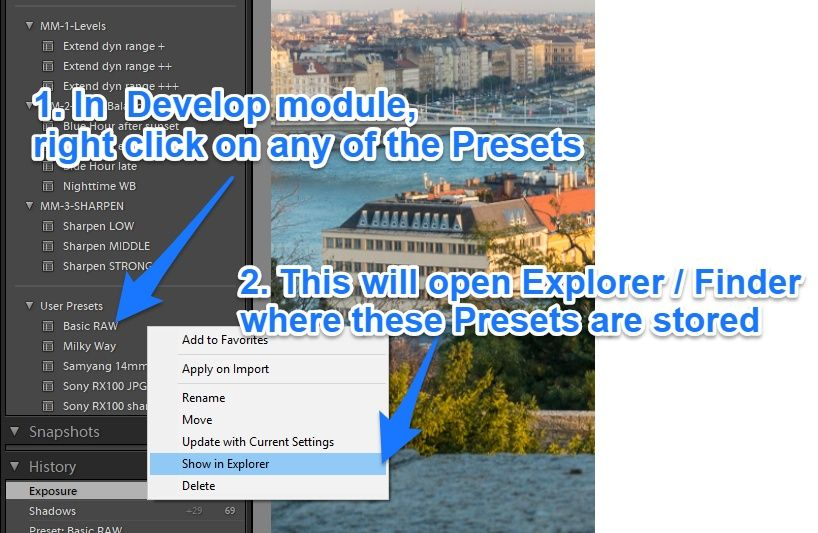 lightroom to show where presets are