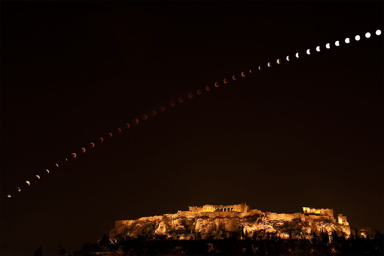 Acropolis lunar eclipse composite photo