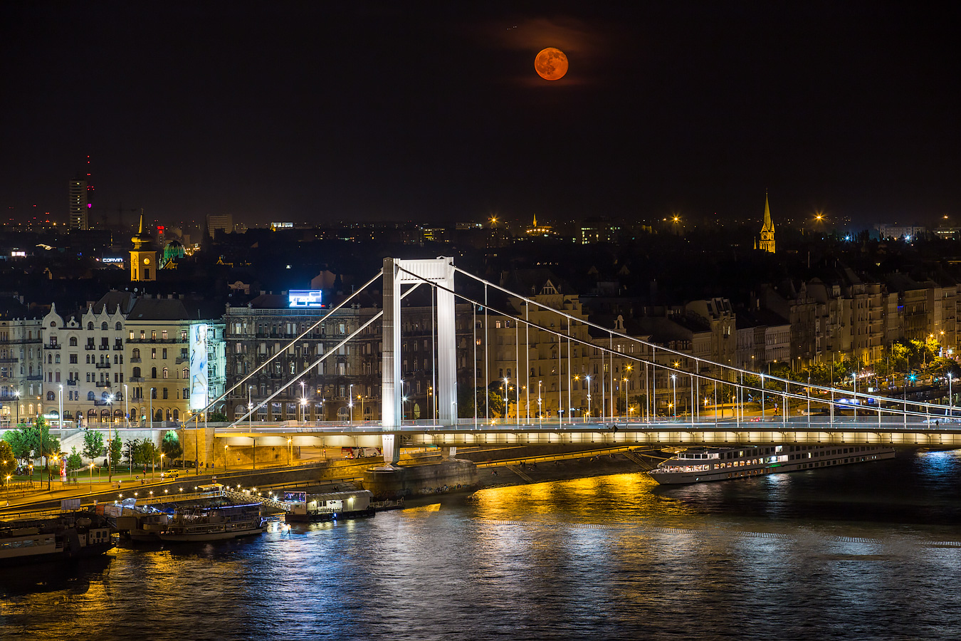 Moonrise over Budapest Elisabeth Bridge