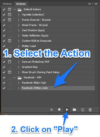 Using PS actions