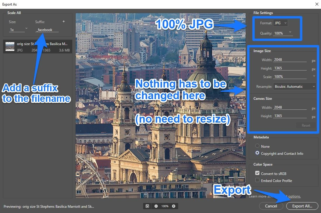 Photoshop export as panel settings