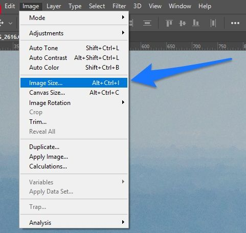Photoshop image size in the menu