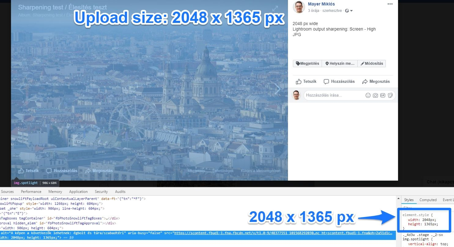 Facebook does not resize photos smaller than 2048 pixels