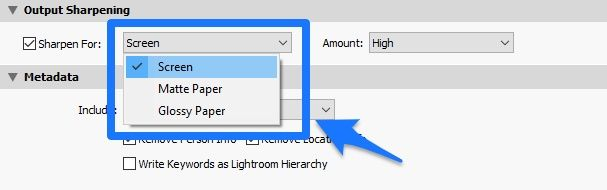 lightroom output sharpening sharpen for options