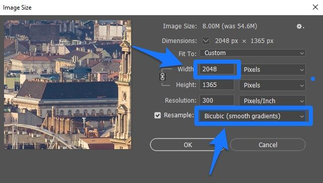 photoshop image resize setting for facebook