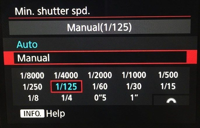 canon auto iso minimum shutter speed more options