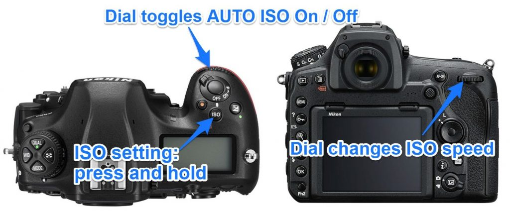 iso button setting on nikon d850 camera