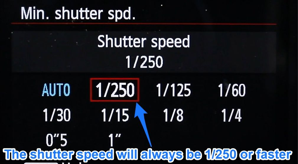 Auto ISO minimum shutter speed set manually on canon 6d
