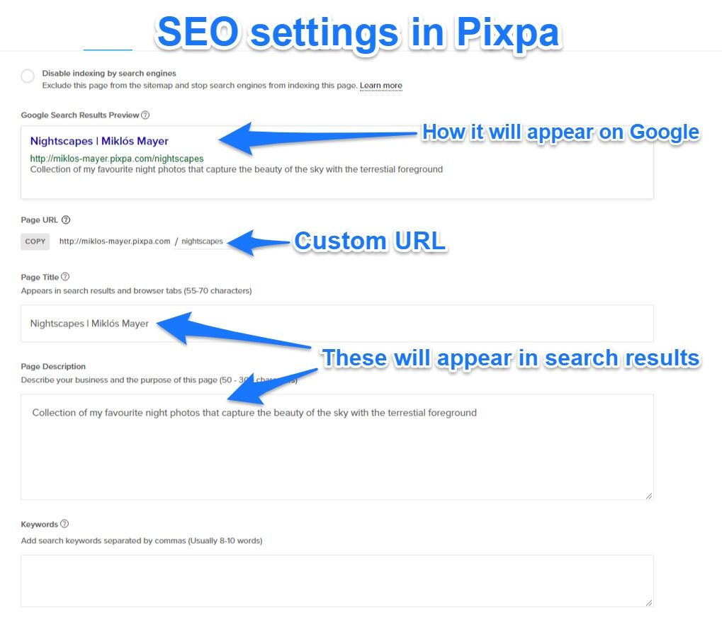 Advanced SEO page settings in Pixpa
